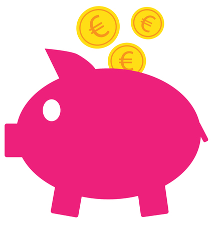 Euro currency icon vector on coins entering a pink piggy bank. Illustration