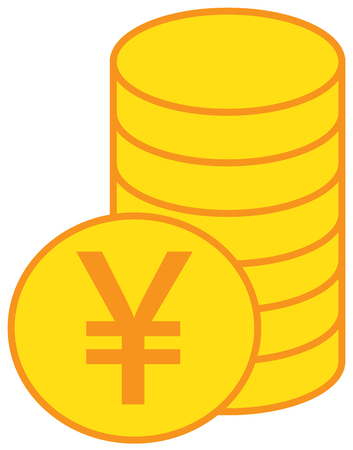Yen, Yuan or Renminbi currency icon vector over a pile of coins stack. Symbol for Japanese or Chinese bank, banking or Japan and China finances.