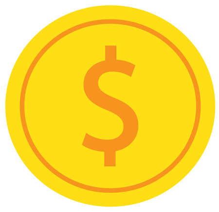 Dollar currency icon vector over a coin. Illustration