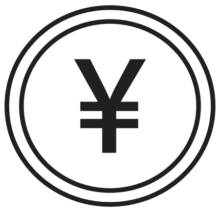Yen, Yuan or Renminbi currency icon vector over a coin. Symbol for Japanese or Chinese bank, banking or Japan and China finances.