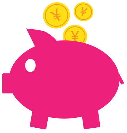 Yen, Yuan or Renminbi currency icon vector on coins entering a piggy bank. Symbol for Japanese or Chinese bank, banking or Japan and China finances. Illustration
