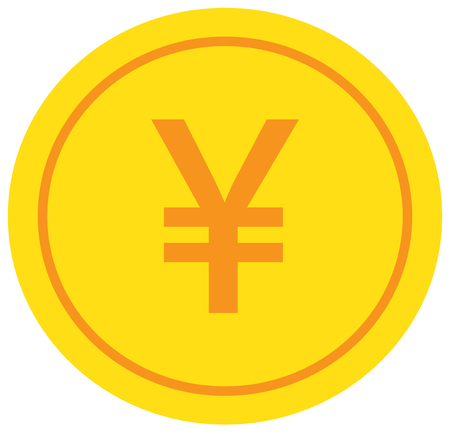 Yen, Yuan or Renminbi currency icon or logo vector over a coin. Symbol for Japanese or Chinese bank, banking or Japan and China finances.