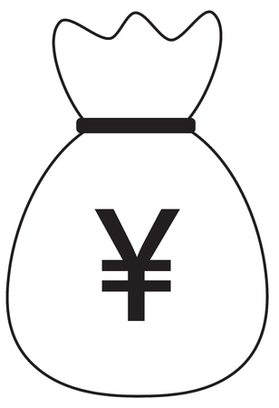Yen, Yuan or Renminbi currency icon or logo vector over a money bag. Symbol for Japanese or Chinese bank, banking or Japan and China finances. Illustration