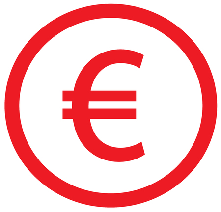Euro currency icon or logo vector over a coin. Symbol for European Union bank, banking or Europe Eurozone finances. Illustration
