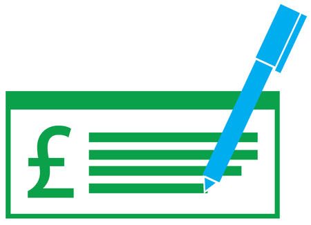 Pound Sterling Currency Icon Vector On A Pay Check Symbol For
