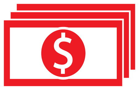 Dollar currency icon or logo vector on a bank note or bill. Symbol for United States of America banking or American finances.