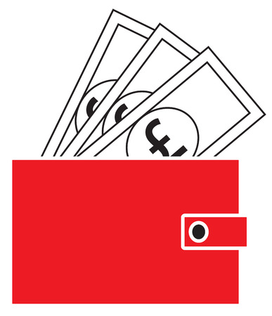 Pound Sterling Currency Icon Vector On Notes Popping Out Of A