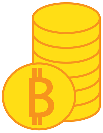 Bitcoin crypto currency icon or logo vector over a pile of coins stack.