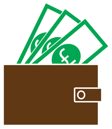 Pound Sterling currency icon or logo vector on notes popping out of a wallet. Symbol for United Kingdom or Great Britain and England bank, banking or British and English finances Illustration