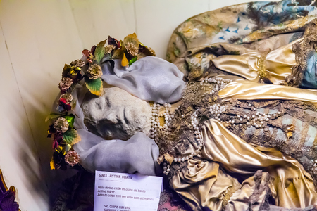Lisbon, Portugal - October 24, 2016: Remains of Saint Justina of Padua in the interior of the Santo Antonio de Lisboa Church. Built on the Saint Anthony of Lisbon aka of Padua or Padova birth location