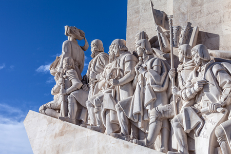 Lisbon, Portugal - February 04, 2018: Padrao dos Descobrimentos monument. The Sea Discoveries Monument commemorates the navigators who explored the oceans and continents and created globalism Editorial