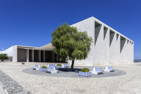 Lisbon, Portugal - April 02, 2013: Pavilhao de Portugal, aka Portuguese Pavilion in Parque das Nacoes. By the Pritzker Award winner architect, Alvaro de Siza Vieira. 報道画像