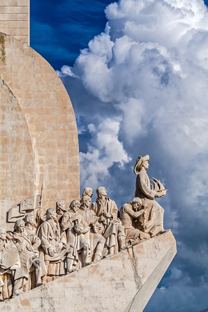 Lisbon, Portugal - November 05, 2017: Padrao dos Descobrimentos monument. The Sea Discoveries Monument commemorates the navigators who explored the oceans and continents and created globalism Editorial