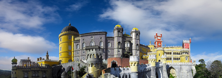 Sintra, Portugal - December 04, 2017: Pena National Palace. A 19th century sumptuous royal palace in the Romantic Architecture Style