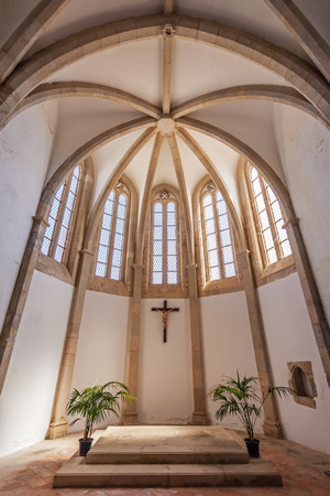 Santarem, Portugal - September 11, 2017: Interior of the Apse behind the altar of the Igreja de Santa Clara Church. 13th century Mendicant Gothic Architecture