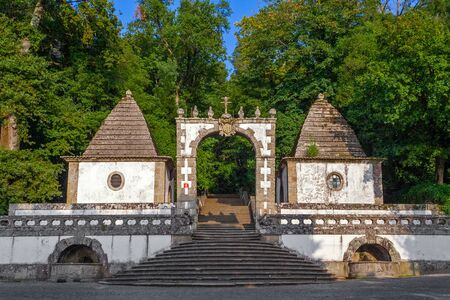 Braga, Portugal. Bom Jesus do Monte. Portico on the bottom entrance of the sactuary and start of Stations of the Cross. Baroque.