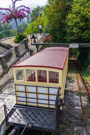 Braga, Portugal. 19th century funicular of Bom Jesus do Monte Sanctuary. Powered by a water gravity system
