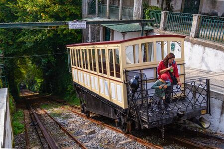 Braga, Portugal - October 6, 2017: 19th century funicular of Bom Jesus do Monte Sanctuary. Powered by a water gravity system Editoriali