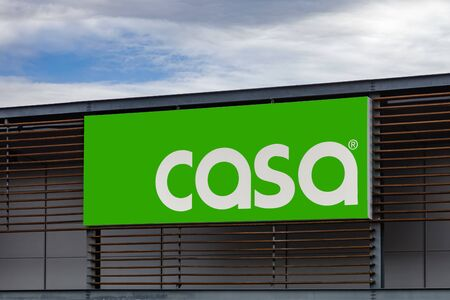 Coina, Portugal - October 23, 2019: Signboard of the Casa retail store. Casa is a household decoration, design and goods store. Barreiro Planet Retail Park. Editoriali