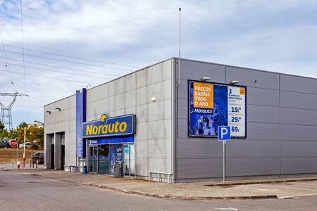 Coina, Portugal - October 23, 2019: Norauto car or auto parts shop and service station. Auto repair shop in Barreiro Planet Retail Park. Norauto is a French company