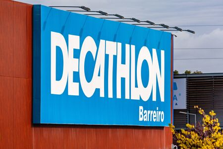 Coina, Portugal - October 23, 2019: Signboard of the Decathlon store in the Barreiro Planet Retail Park. Decathlon is a French company and the largest sporting goods retailer in the world Editoriali