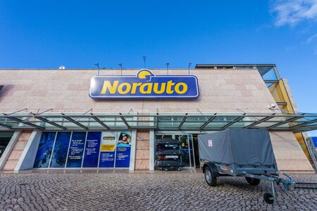 Almada, Portugal - October 24, 2019: Norauto car or auto parts shop and service station or auto repair shop in Almada Forum shopping mall or center. Norauto is a French company Editoriali