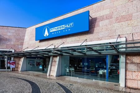 Almada, Portugal - October 24, 2019: Fitness Hut store in the Almada Forum shopping mall or center. Fitness Hut is workout gym focused on premium services at low cost