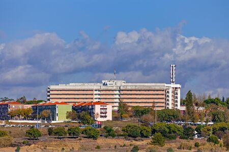 Almada, Portugal - October 24, 2019: Hospital Garcia de Orta Hospital. Very large hospital belonging to the Servico Nacional de Saude, the Portuguese National Health Service. Located in the suburban area of Lisbon.