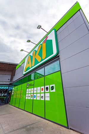 Coina, Portugal - October 23, 2019: Entrance of the AKI store in Barreiro Planet Retail Park. AKI is an ADEO company and retail leader of DIY, home improving and gardening in Portugal