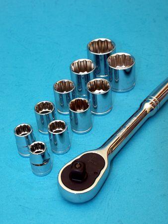 socket ratchet wrench set on blue Stock Photo - 4596495