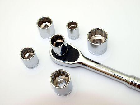socket ratchet wrench set on white Stock Photo - 4596496