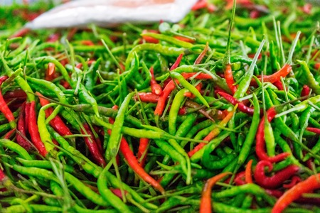 Whole chili for sale at a local Market in Thailand Stockfoto
