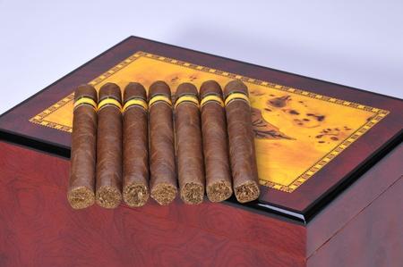 Seven cigars on the cigar box photo