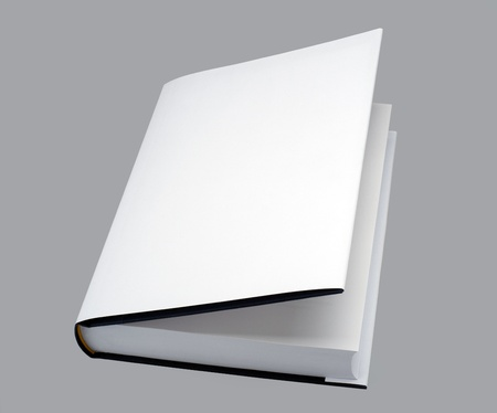White, plain open book with hard cover