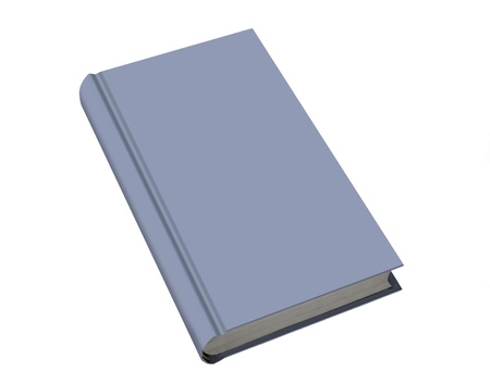 Blue plain book, isolated on white photo
