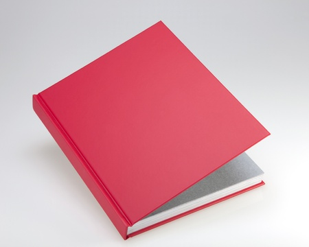 Red book with plain hard cover, for design layout