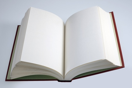 Open hardcover book with blank pages
