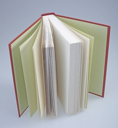 hardcover: Red, hardcover book open Stock Photo
