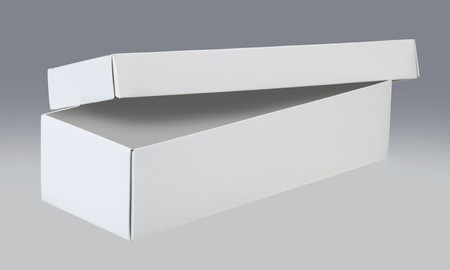 White, open box with lid