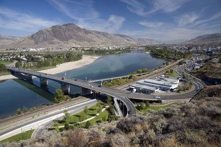 The city of Kamloops with Thompson River