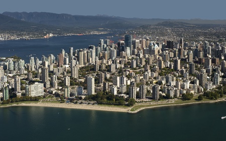 Aerial Vancouver - West End beaches