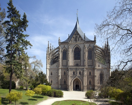 Gothic Cathedral St. Barbara in Kutna Hora 版權商用圖片