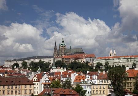 vitus: Prague, panoramic view of Hradcany and St. Vitus Cathedral Stock Photo