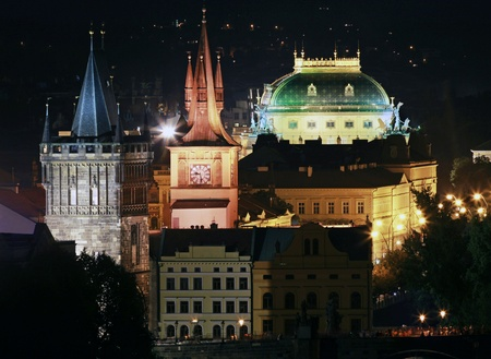 Prague, historic towers and the National Theatre