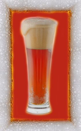 Glass of beer in the froth frame photo