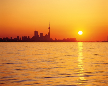 Toronto skyline and Lake Ontario