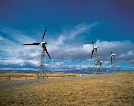 Wind Farm at Cowley, Alberta Stock Photo