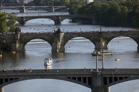 vltava: Vltava River and four bridges