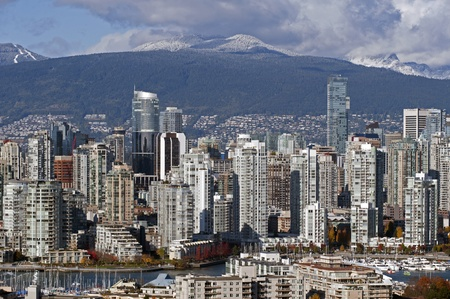 Vancouver modern buildings and mountains