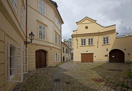 Rasnovka street and old house in Prague